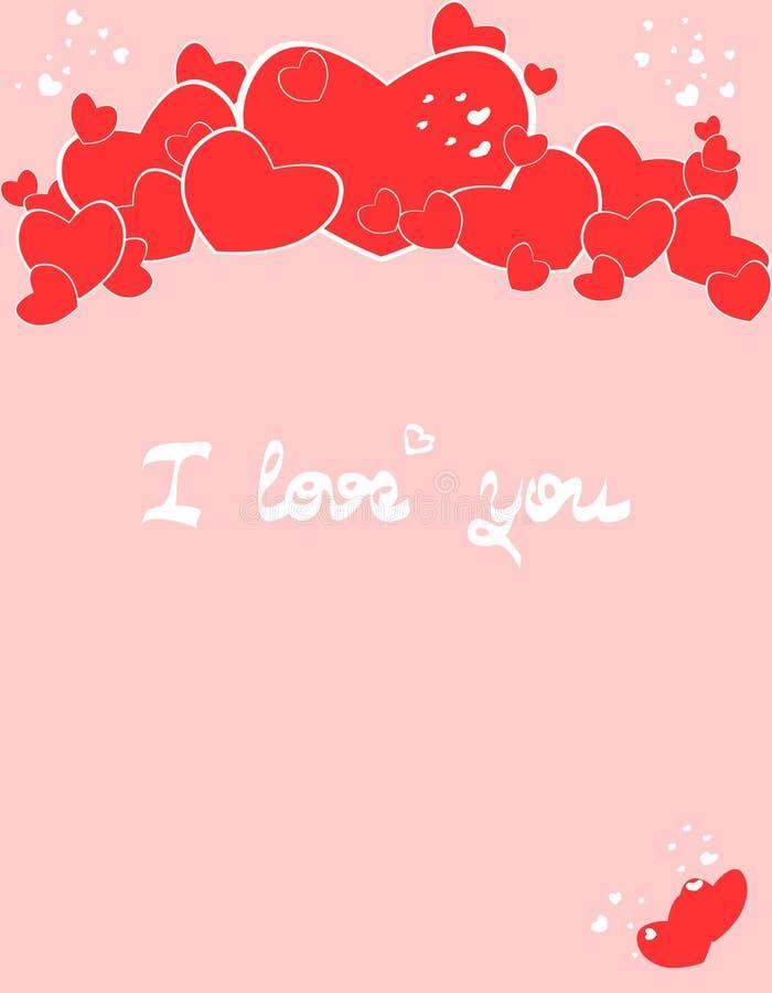 Carta di giorno di biglietti di S. Valentino con i cuori in due colori immagini stock
