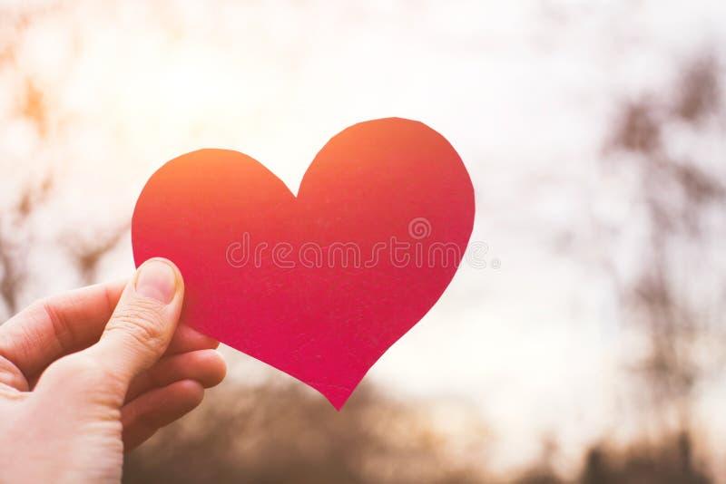 Carta di giorno di biglietti di S. Valentino, cuore della tenuta della mano, amore fotografia stock libera da diritti