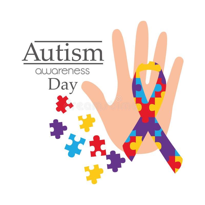 Carta di giorno di consapevolezza di autismo con il nastro di forma di puzzle della mano illustrazione di stock