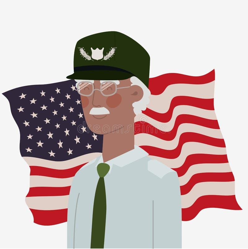 Carta di Giorno dei Caduti con il veterano di afro e la bandiera degli S.U.A. illustrazione vettoriale