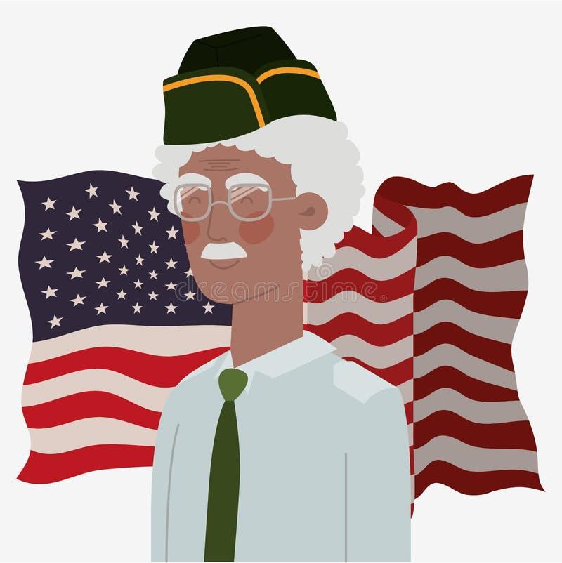 Carta di Giorno dei Caduti con il veterano di afro e la bandiera degli S.U.A. illustrazione di stock