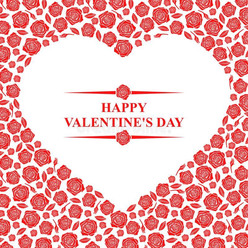 Carta di giorno di biglietti di S. Valentino con i cuori sul fondo delle rose illustrazione di stock