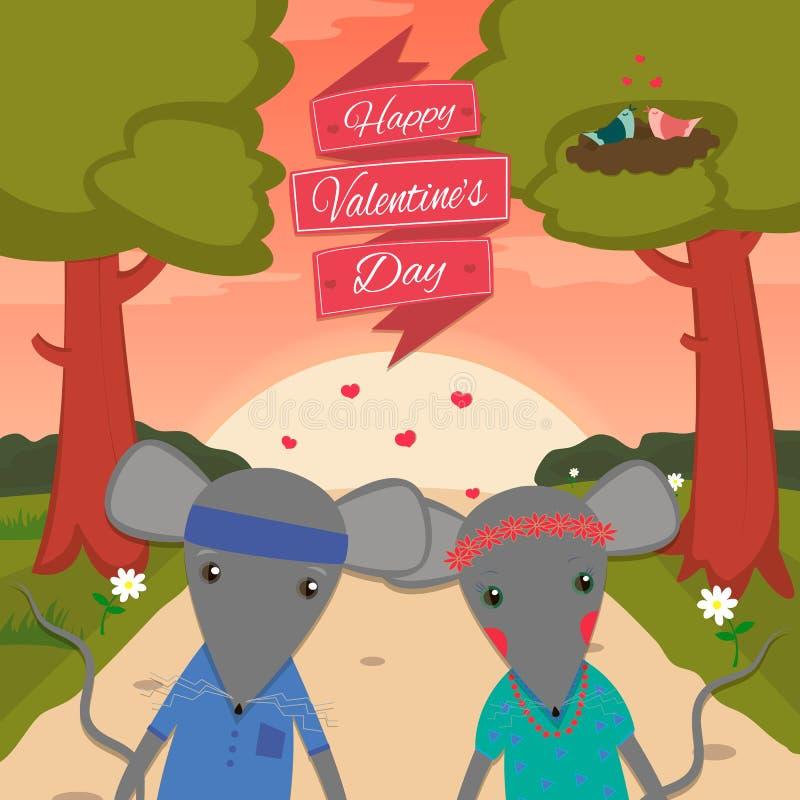 Carta di giorno di biglietti di S. Valentino con il ragazzo e la ragazza romantici del topo delle coppie Illustrazione di vettore illustrazione vettoriale