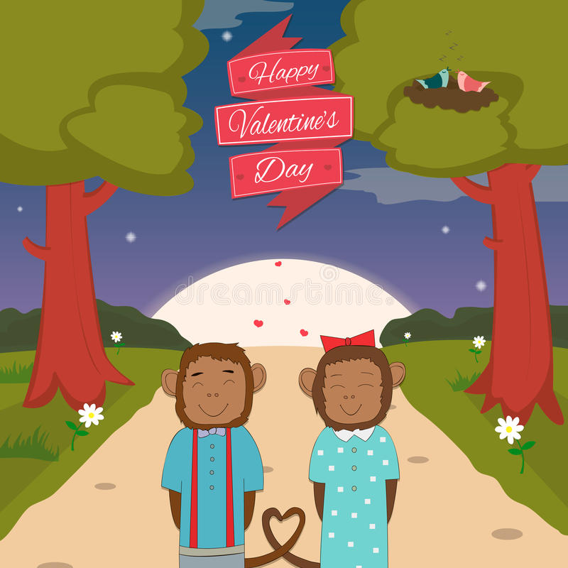 Carta di giorno di biglietti di S. Valentino con le scimmie romantiche delle coppie royalty illustrazione gratis
