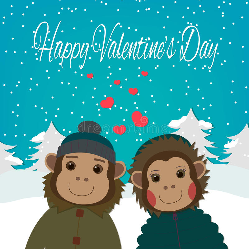 Carta di giorno di biglietti di S. Valentino con le scimmie romantiche delle coppie Illustrazione di vettore illustrazione vettoriale