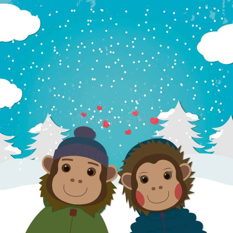 Carta di giorno di biglietti di S. Valentino con le scimmie romantiche delle coppie Illustrazione di vettore illustrazione di stock