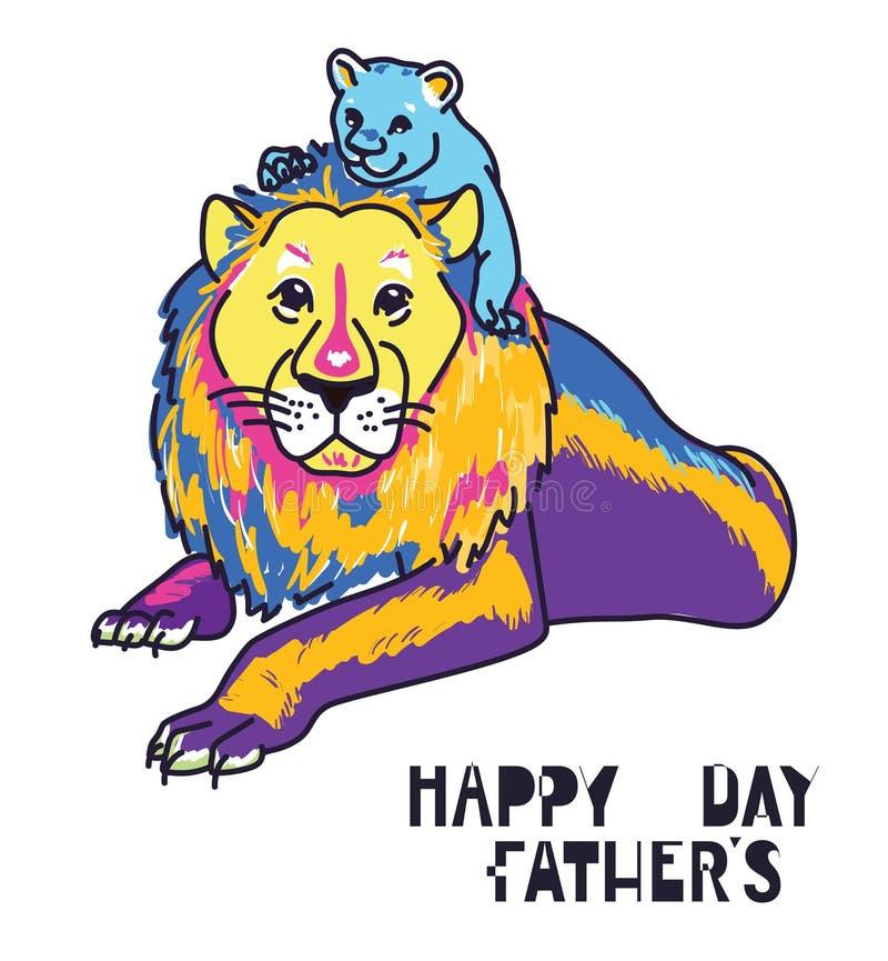 Carta di giorno di padri, papà ed animali felici del bambino illustrazione di stock