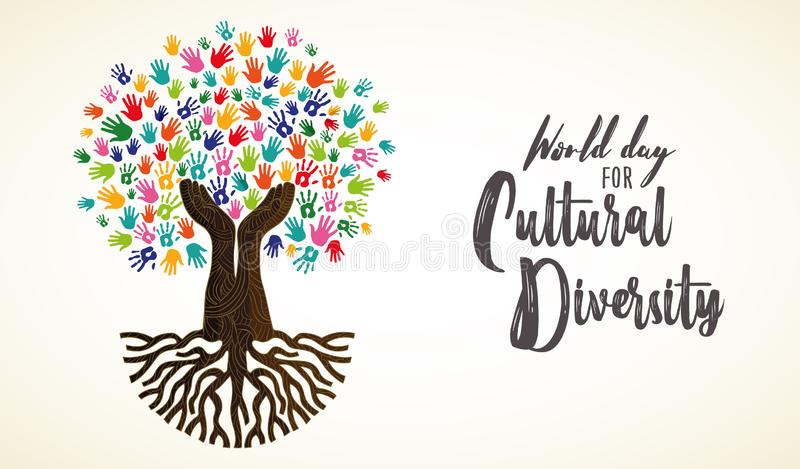 Carta di giorno di diversità culturale dell'albero umano della mano royalty illustrazione gratis