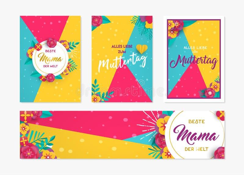 Carta di carta di giorno di madre ed insieme di etichetta in tedesco illustrazione di stock