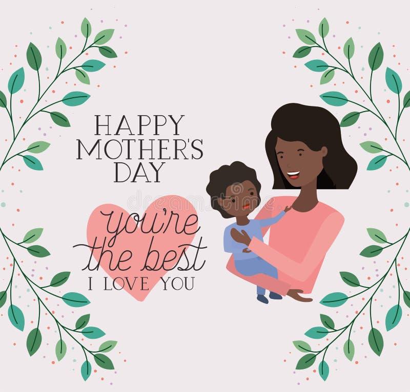 Carta di giorno di madri con il figlio di sollevamento della mamma nera illustrazione di stock