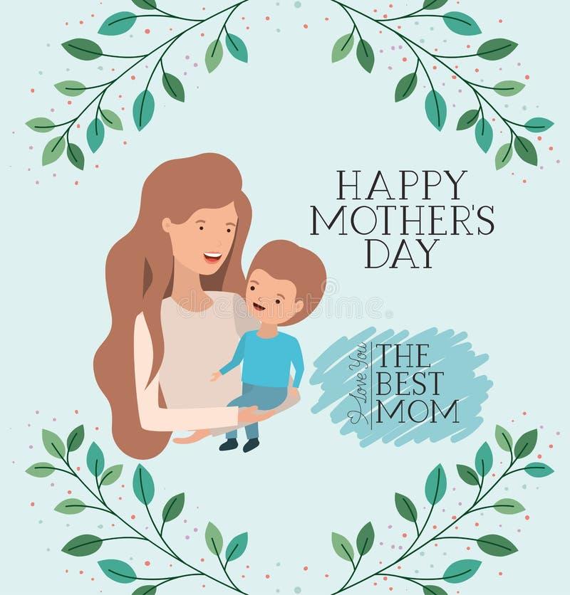 Carta di giorno di madri con il figlio di sollevamento della mamma royalty illustrazione gratis