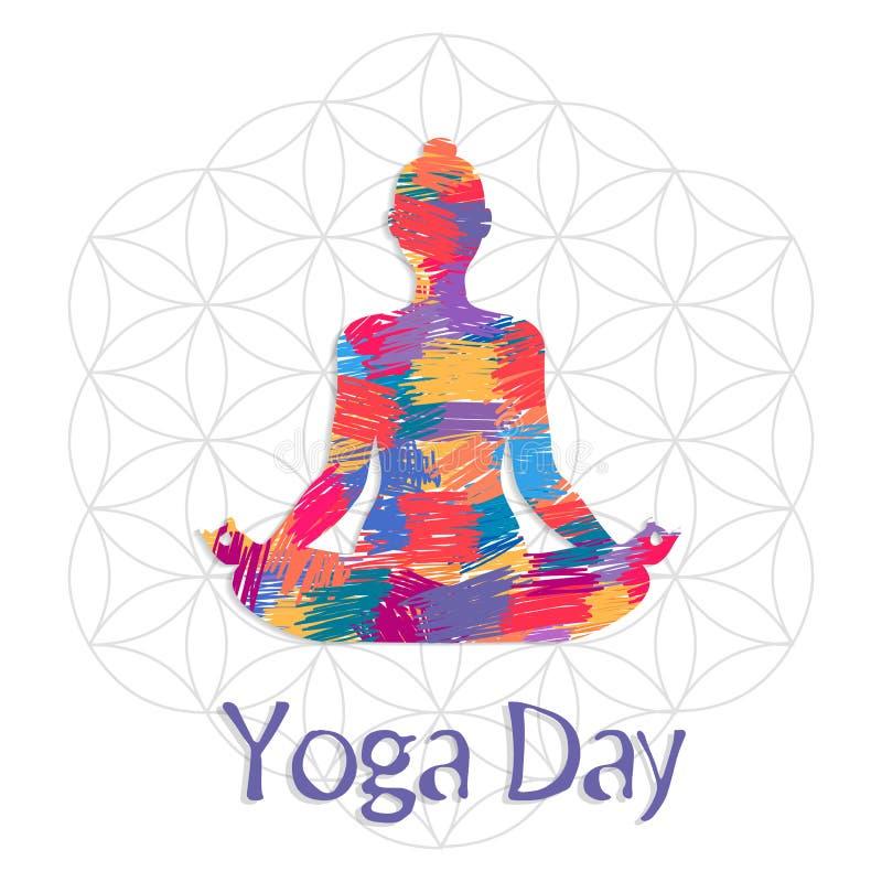 Carta di giorno di yoga della donna di astrattismo nella posa del loto illustrazione vettoriale