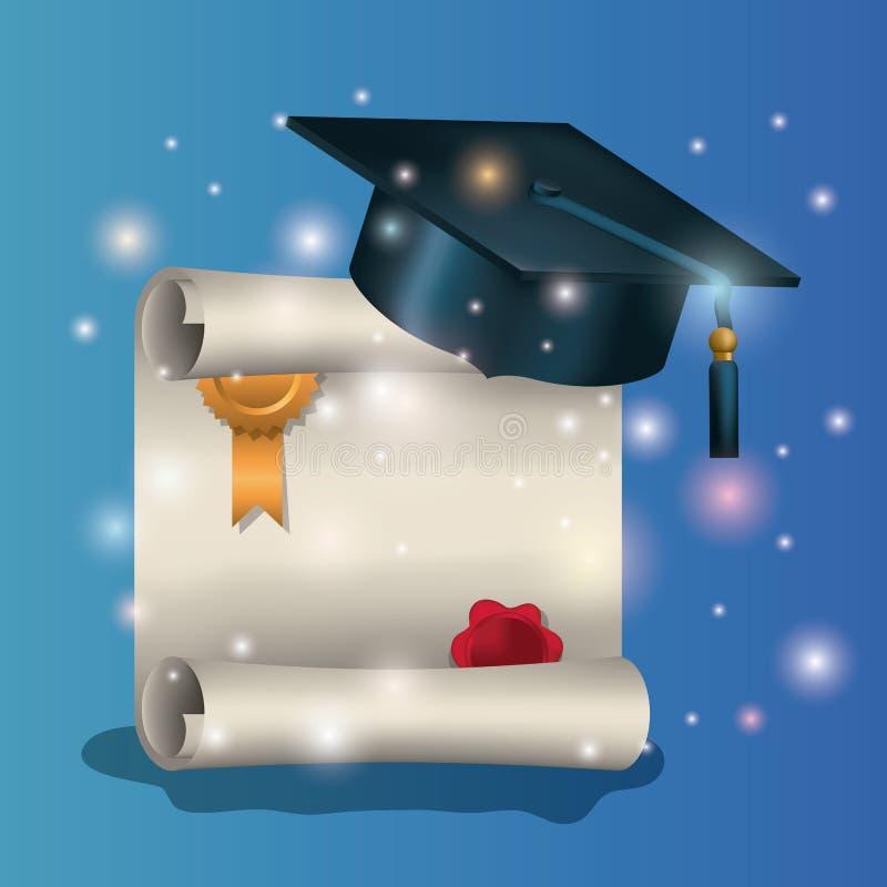 Carta di graduazione con il cappello ed il diploma royalty illustrazione gratis
