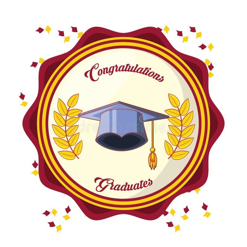 Carta di graduazione con l'icona del cappello royalty illustrazione gratis