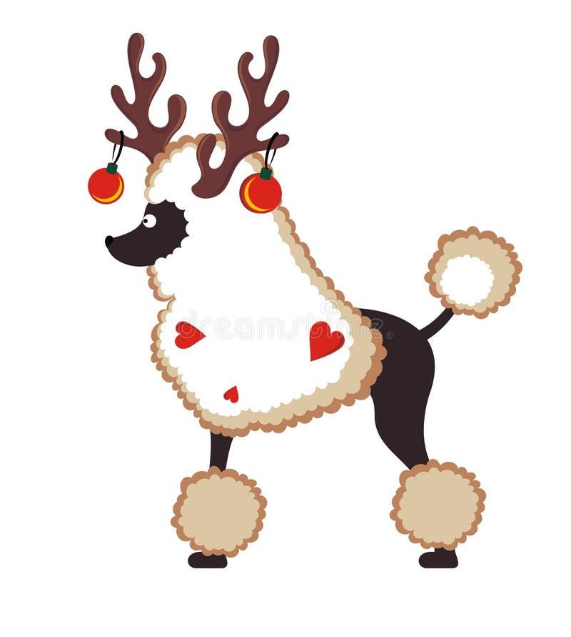 Carta di Greetind con il cane di Natale illustrazione di stock