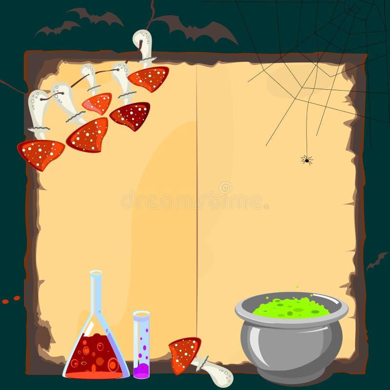 Carta di Halloween con gli attributi magici illustrazione di stock