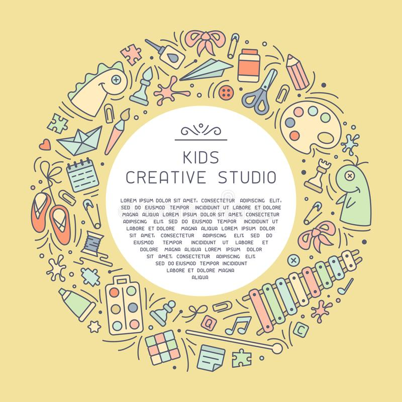 Carta di informazioni creativa dello studio con le cose per i bambini testo creativo del campione e di attività illustrazione di stock