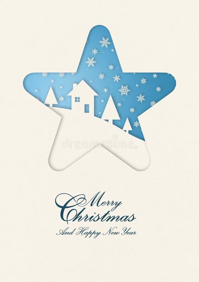 Carta di inverno di Buon Natale nel telaio della stella illustrazione vettoriale