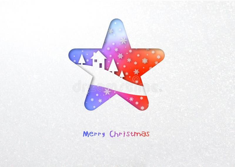 Carta di inverno della stella dell'arcobaleno di Buon Natale royalty illustrazione gratis