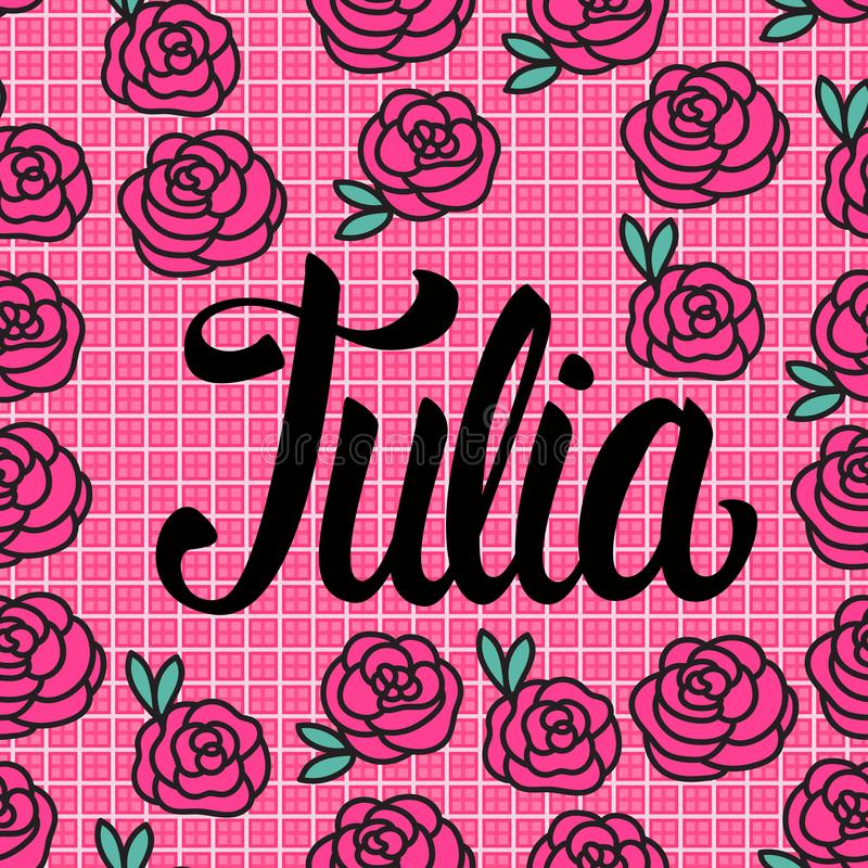 Carta di Julia Name con le rose rosa adorabili Illustrazione di vettore illustrazione di stock