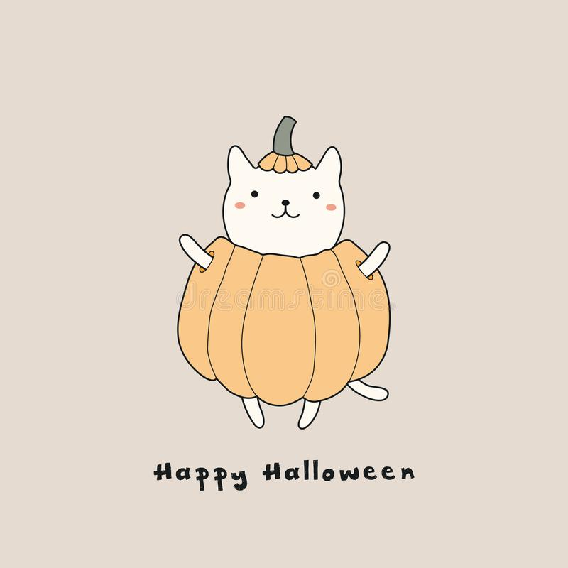 Carta di Kawaii Halloween con il gatto illustrazione di stock