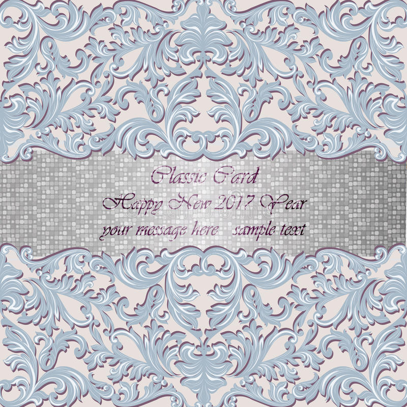 Carta di lusso del mosaico dell'oro del nuovo anno royalty illustrazione gratis