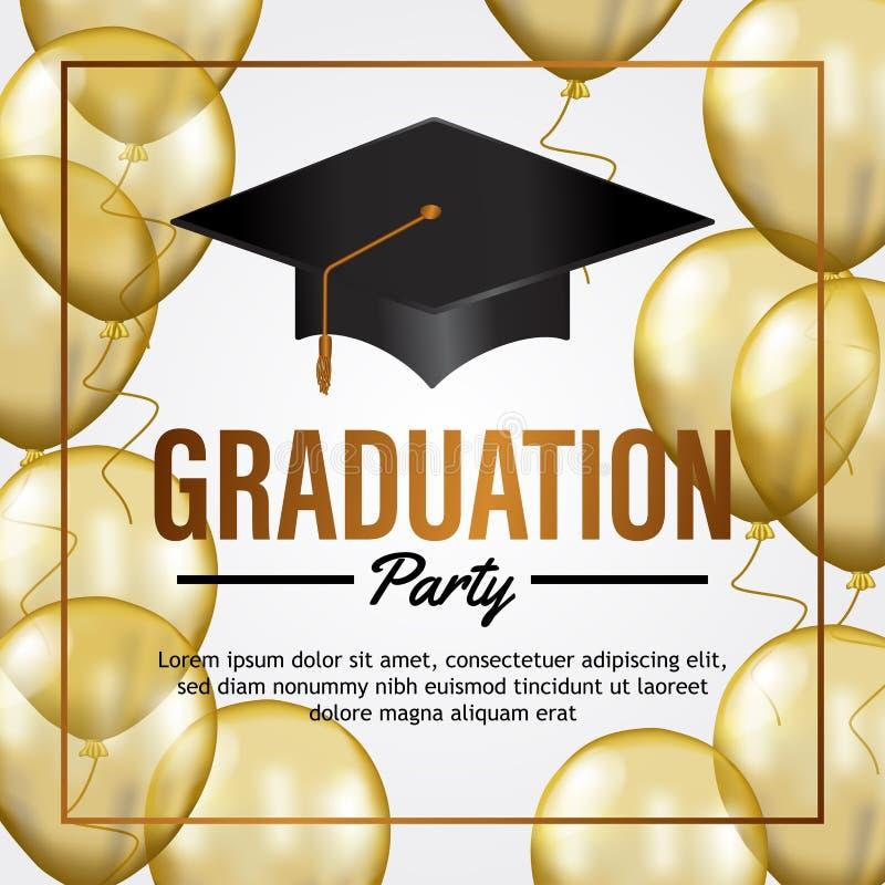 Carta di lusso dell'invito del partito di graduazione con il pallone ed il cappello trasparenti dell'oro royalty illustrazione gratis