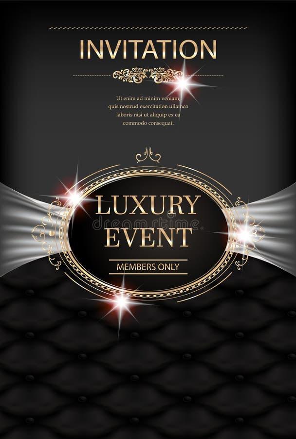 Carta di lusso dell'invito di evento con la struttura d'annata, il fondo di cuoio e gli elementi di progettazione floreale illustrazione di stock