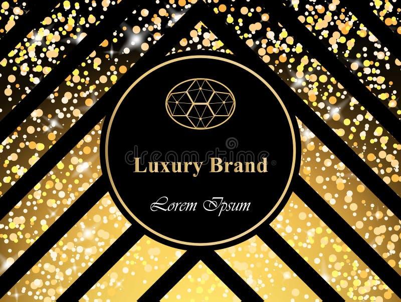 Carta di lusso di marca con il vettore scintillante delle luci Ambiti di provenienza astratti di progettazioni moderne illustrazione di stock