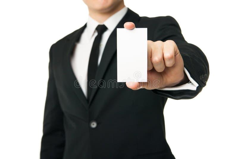 Carta di manifestazione dell'uomo di affari isolata su bianco immagine stock libera da diritti