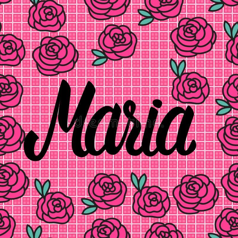 Carta di Maria Name con le rose rosa adorabili Illustrazione di vettore royalty illustrazione gratis