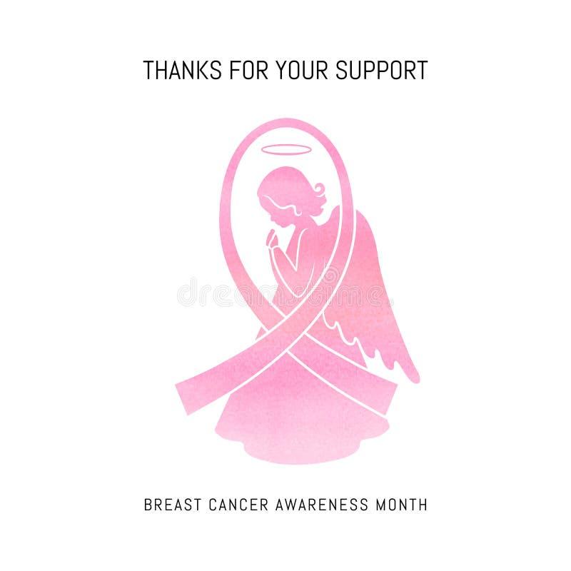 Carta di mese di consapevolezza del cancro al seno illustrazione vettoriale