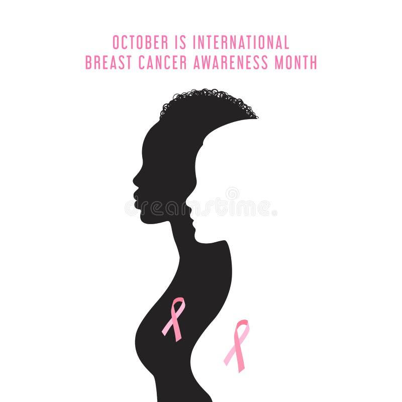Carta di mese di consapevolezza del cancro al seno royalty illustrazione gratis