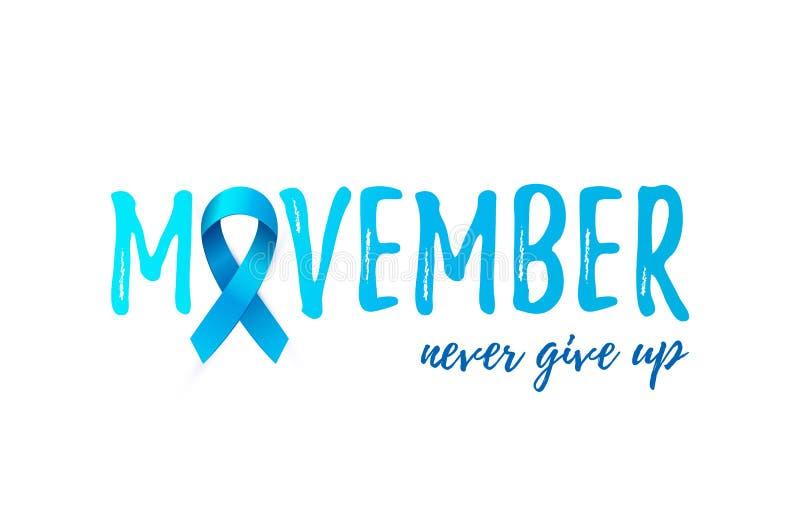Carta di mese di consapevolezza del carcinoma della prostata di Movember con il nastro blu 3d illustrazione vettoriale