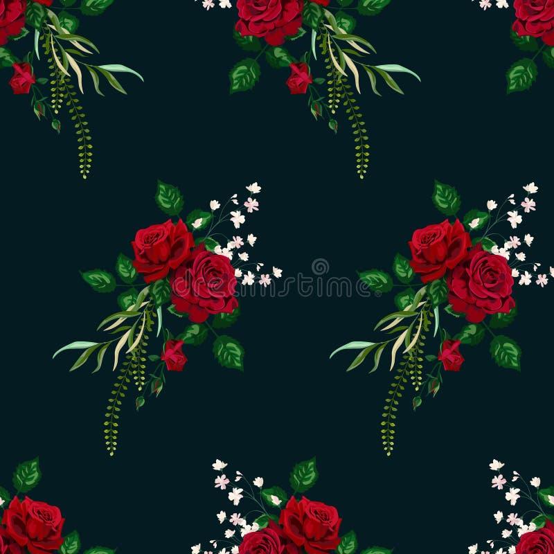 Carta di modello senza cuciture delle rose di vettore per progettazione fotografia stock libera da diritti