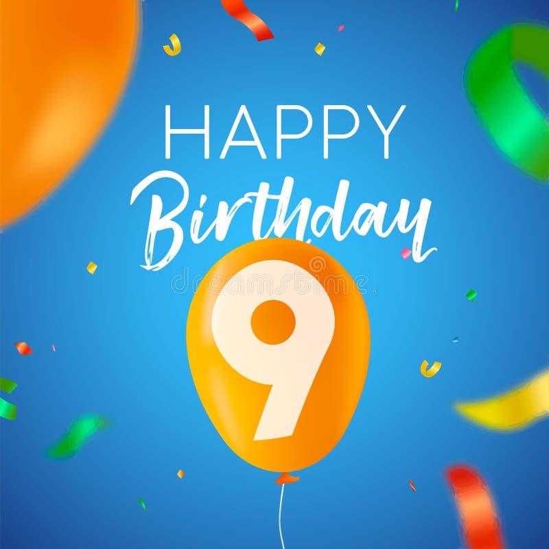 Auguri Di Buon Compleanno Per 9 Anni.Carta Di Anniversario Di Compleanno Pallone Numero Nove