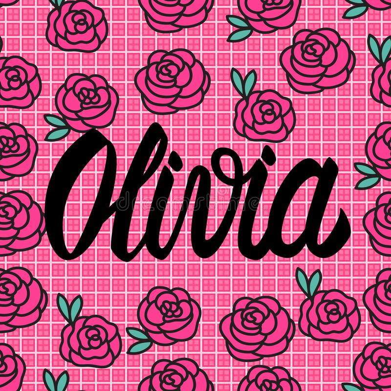 Carta di Olivia Name con le rose rosa adorabili Illustrazione di vettore illustrazione vettoriale