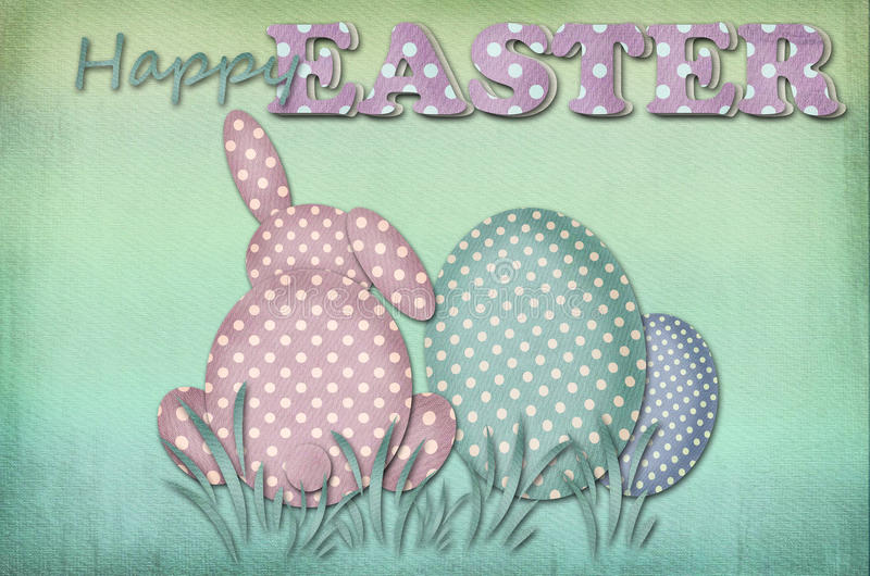 Carta di pasqua d'annata con le uova ed il coniglio del modello di punti illustrazione di stock