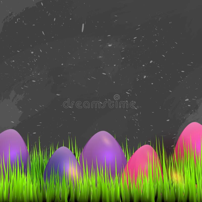 Carta di pasqua felice con spazio per testo, erba sulla lavagna scura con le uova variopinte Illustrazione di vettore royalty illustrazione gratis