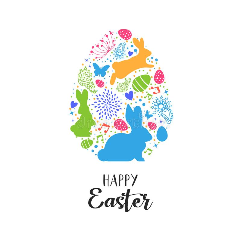 Carta di pasqua felice delle icone della decorazione di forma dell'uovo illustrazione di stock