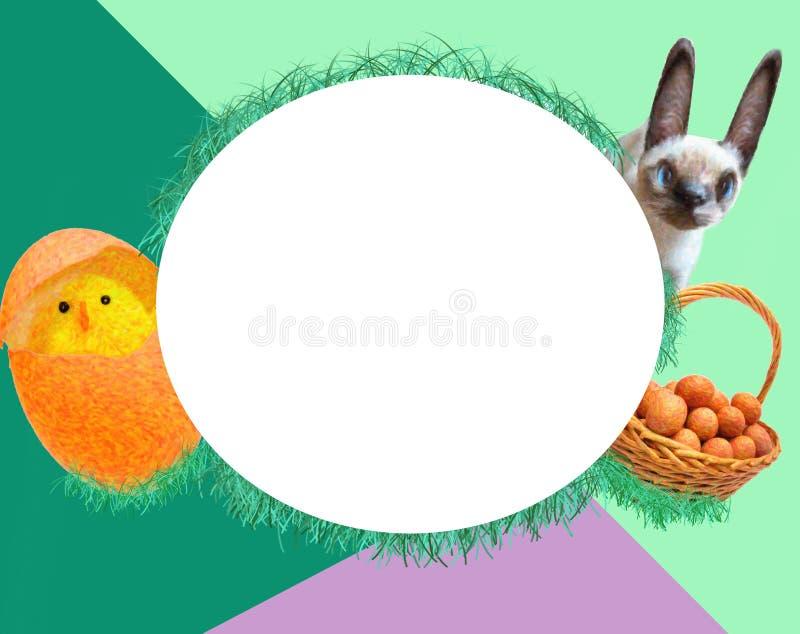 Carta di pasqua - un pollo, un coniglio e un canestro con le uova royalty illustrazione gratis