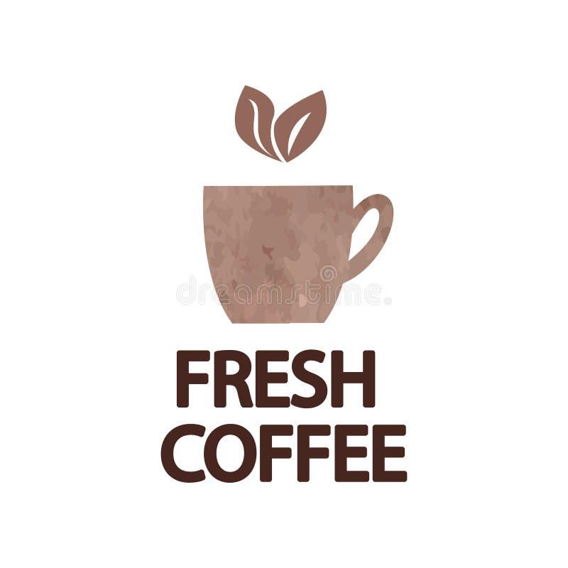 Carta di promozione con l'iscrizione del caffè con lettere fresco nell'ambito della citazione dell'aroma della bevanda calda illustrazione di stock