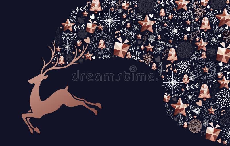 Carta di rame della decorazione dei cervi del nuovo anno e di Natale illustrazione di stock