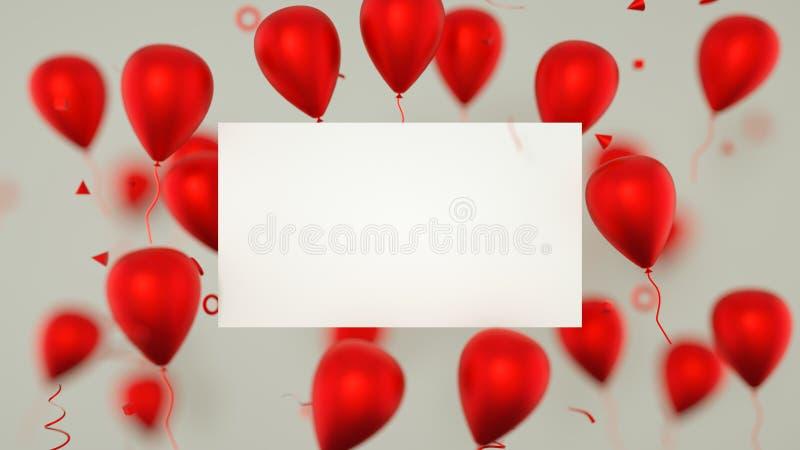 Carta di regalo, biglietto di auguri per il compleanno con i palloni Un segno dell'insegna dei palloni con i palloni del partito  fotografie stock