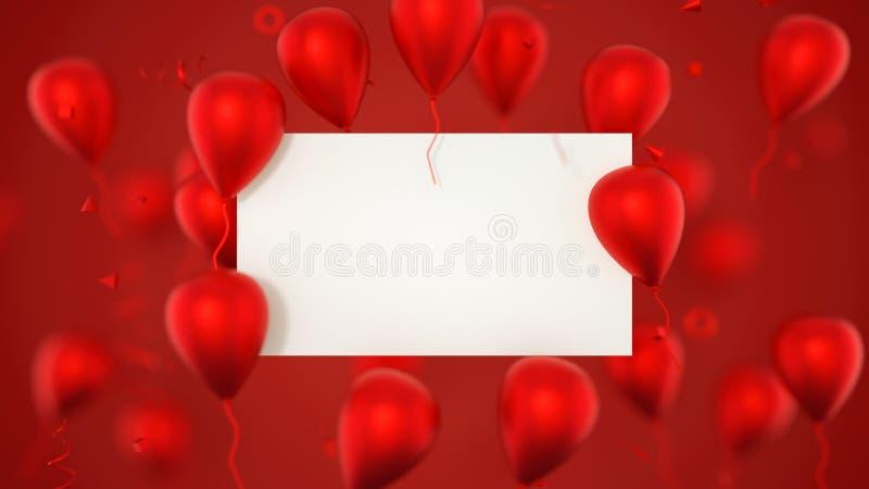 Carta di regalo, biglietto di auguri per il compleanno con i palloni Un segno dell'insegna dei palloni con i palloni del partito  fotografia stock