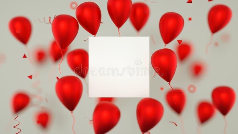 Carta di regalo, biglietto di auguri per il compleanno con i palloni Un segno dell'insegna dei palloni con i palloni del partito  immagini stock