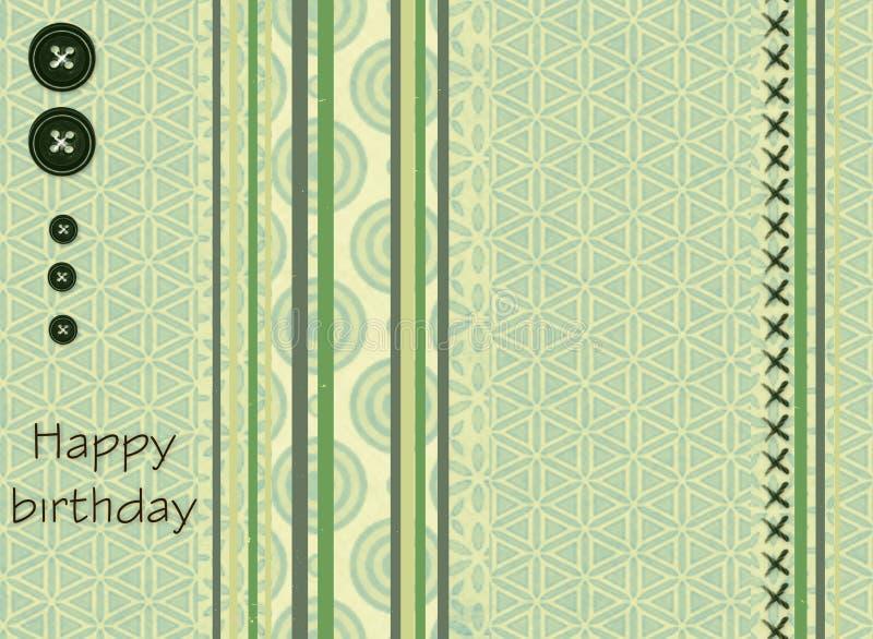 Carta di regalo con i quadrati di colore, i bottoni e compleanno dell'iscrizione il buon! illustrazione vettoriale