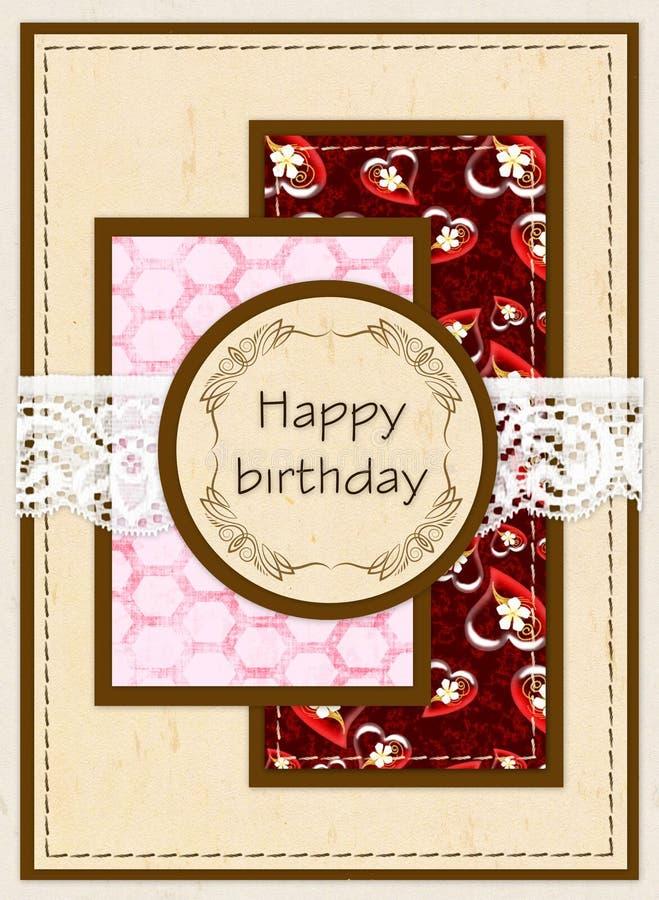 Carta di regalo con i quadrati di colore, bottoni e pizzo bianco e compleanno dell'iscrizione buon! illustrazione vettoriale