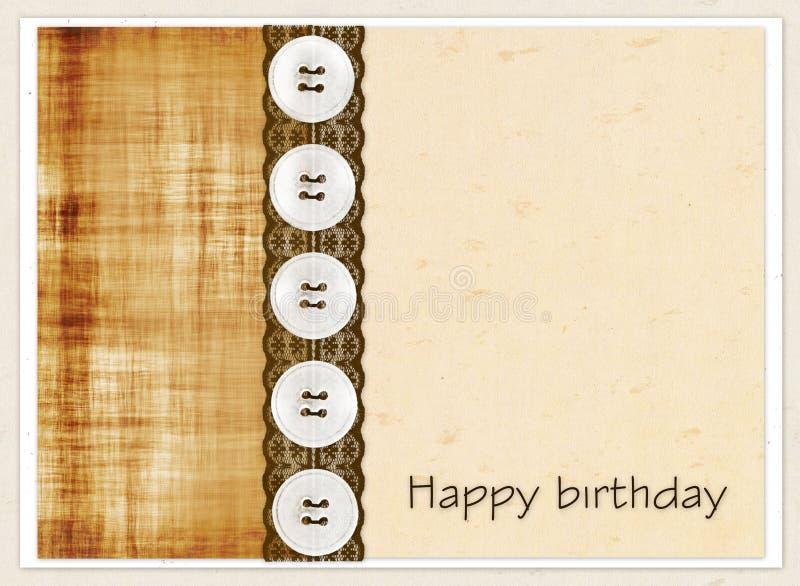 Carta di regalo con i quadrati di colore, bottoni e pizzo marrone e compleanno dell'iscrizione buon! royalty illustrazione gratis