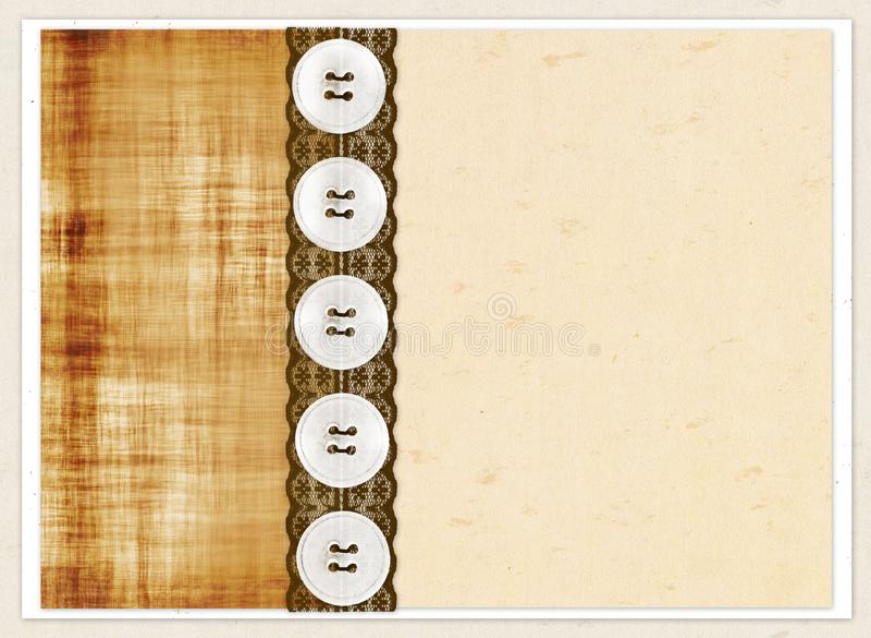 Carta di regalo con i quadrati di colore, i bottoni ed il pizzo marrone royalty illustrazione gratis